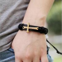 Men's Genuine Leather Cross Charm Handmade Braid Cuff Wristband Bracelet Bangle