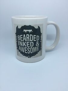 BEARDED INKED AND AWESOME TATTOO MUG CUP - Gift Present