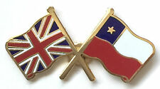 Great Britain & Chile Flags Friendship Courtesy Enamel Lapel Pin Badge