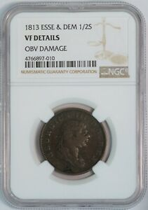 1813 Essequibo & Demerary 1/2 Stiver Copper Coin (NGC VF Details) KM# 9a (B3369)