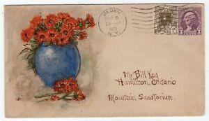 USA - Alden, NY 1936 - Flower Vase Hand Painted / Illustrated ART Cachet Cover