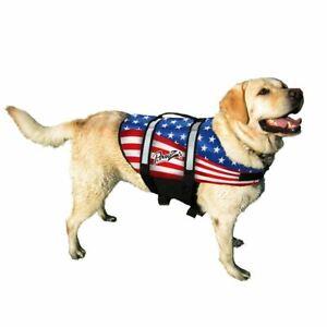 Pawz Pet Products Nylon Dog Life Jacket Medium Flag