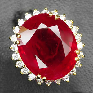 RUBY BLOOD RED OVAL 23.30CT.SAPP 925 STERLING SILVER ROSE GOLD RING SZ 7 JEWELRY
