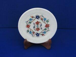 """5 """" Marmor Platte Pietra Dura Handmade Halbedelstein Heim Dekor"""