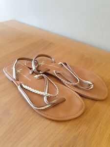 Summer Sandals Brown/Gold Strappy Flat Shoes UK Size 5 EU 38