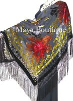 Maya Matazaro Tie Dye Brown Multi Silk Burnout Velvet Piano Shawl Wrap Scarf