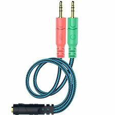 Gaming Headset to PC Splitter Cable Microphone and Headphone Jacks for HyperX 2m