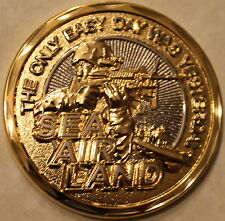 Navy Seals Only Easy Day..Yesterday Challenge Coin GLDE