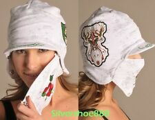 NWT ED HARDY WOMENS ITALY EDITION EARFLAP BOMBER SKI HAT/FACEMASK
