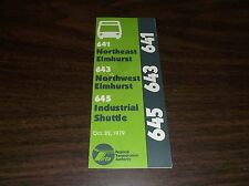 OCTOBER 1979 CHICAGO RTA ROUTE 641/643/645 ELMHURST BUS SCHEDULE