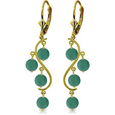 4 Carat 14K Solid Gold Chandelier Earrings Natural Emerald