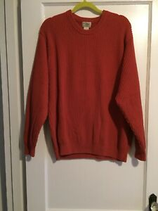 LL Bean Men's XL-Reg 100% Cotton Long Sleeve Russet Orange Sweater #0 QY58