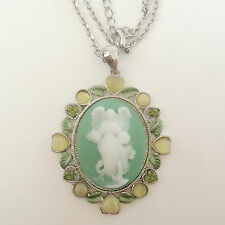 Nw Olive Grn Vintage Style Angel Cameo Garden of God Lucky Chain Necklace NE1425