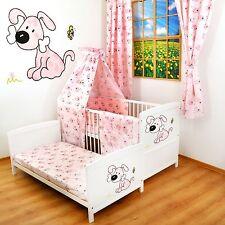 NEW WHITE 2in1 COT-BED 120x60 -  PINK PUPPY-12 PIECE BEDDING - MATTRESS FREE