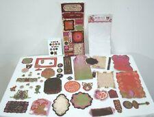 Garden Girl BoBunny Scrapbook Stickers Die Cuts Chip Board Brads Set of 93  Purp