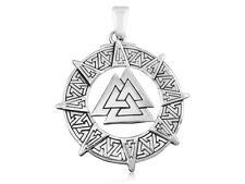 925 Sterling Silver Nordic Symbol of Norse Valknut Viking Warrior Odin Pendant