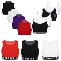 Girls Kids Plain Crop Top Short Sleeve Sports Bra Dance Wear Shirt Stretch Tops