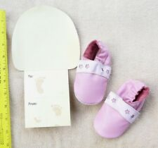 Leather baby shoes pink flower size 6-12 months New