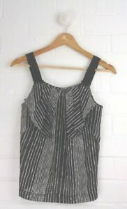Cue in the City Size 6 Black Striped Sheer Singlet Tank Blouse