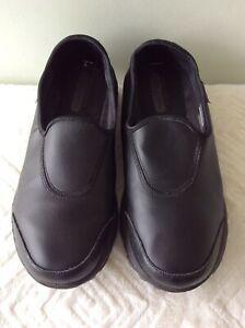 SKECHERS GOWALK real leather ladies black slip on comfort shoe size 6/39