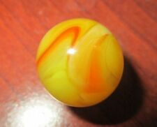 Akro Agate Oxblood&Egg Yolk Swirl Clear Base+Yellow Orange Oxblood&White 11/16""