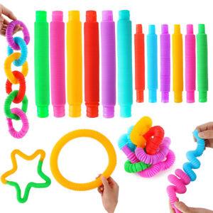 10X Pop Tubes Sensory Toy for Kid Adult Fidget Stress Relieve Fidget Toy Squeeze