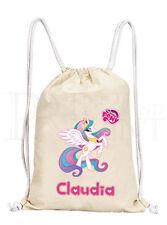 Personalised Girls My Little Pony MLP Celestia Drawstring Canvas Gym/ PE Bag