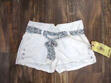 NEW Da Nang Silk Button Shorts w/ Belt Bleached White SKG5292 Size MEDIUM