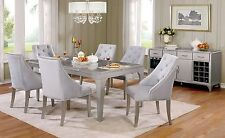 NEW GLAM 7PC ZANDT METALLIC SILVER FINISH WOOD MIRROR FABRIC DINING TABLE SET