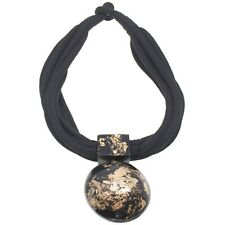 Black and gold large distinctive pendant choker necklace fashion jewellery