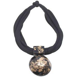 Black and gold large distinctive pendant choker necklace fashion jewellery