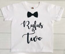 Kids Boys Personalised 2nd Second Birthday T-Shirt Top Outfit Set Black Bow Tie