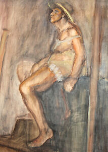 European expressionist watercolor painting nude