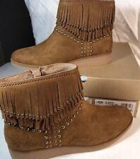 Ugg 9.5 Fringe Suede Studded Brown Boots Ariane Biker Hippie NIB