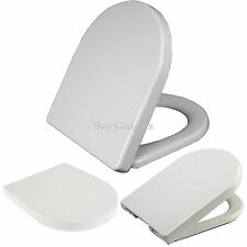 LUXURY WHITE D-SHAPE HEAVY DUTY SOFT CLOSE TOILET SEAT WITH TOP FIXING HINGES
