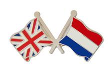 Pays-Bas Drapeau & Royaume-Uni Drapeau Amitié Courtoisie Broche Badge
