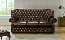 3 Sitzer Couch Polster Chesterfield Sofa Couchen Sitz Garnitur Neu Antik Braun