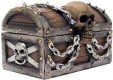 Evil Skull On Treasure Chest Trinket Box Statue With Hidden Storage Compartment