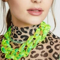 Neon Color Clear Acrylic Chains Choker Necklace For Women Resin Big Collar Long