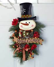 "Snowman 24"" Large Festive Christmas Holiday Swag Door Decor Winter Wreath Spray"