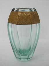 Vase cristal Moser couleur beryl et or @