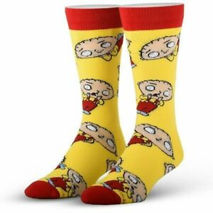 Stewie Griffin Family Guy Cool Socks Licensed Unisex Crew Socks - Yellow