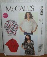Womens/Misses Tops Tunics & Belt Sewing Pattern/McCall's M6929/SZ XS-M/UCN
