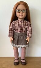 "Our Generation 18"" April School Girl Doll With Auburn Hair & Glasses Immaculate!"