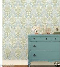 BLUE AND GREEN  DAMASK design PEEL AND STICK WALL PAPER new