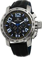 Joshua & Sons JS49BU Chronograph Tachymeter Date GMT Blue Accented Mens Watch