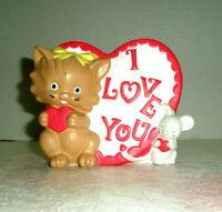 "Vitnage VALENTINE Planter Kitty Mouse Heart ""I Love You"" 1977"