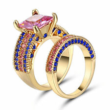 Pink Topaz Wedding Ring Set Pave CZ Band Womens Gold Rhodium Plated Size 8 Gift