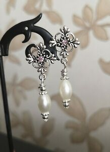 vintage Style Filigree Cross Stud Pearl Drop Earrings tibetan silver glass white