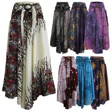 Ladies Smock Long Skirt Coconut Belt Lagenlook Bohemian Boho Sarong Gypsy CS